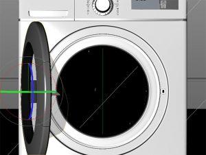 3DCG洗濯機のフタが開いた状態